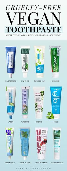 Plenty of cruelty-free and vegan toothpaste options that are not tested on animals or contain any animal ingredients! (scheduled via http://www.tailwindapp.com?utm_source=pinterest&utm_medium=twpin&utm_content=post194203723&utm_campaign=scheduler_attribution)