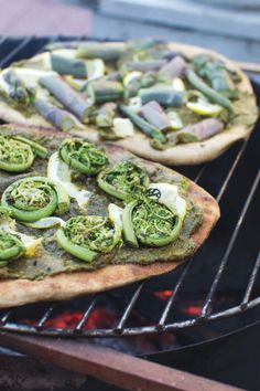 Grilled Fiddlehead Fern (or Asparagus) Pizza with Oregano Pesto & Lemon, Friday