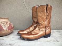 Vintage cowgirl boots Women's size 8 B copper Justin Ropers round toe Western boo boho rockabilly metallic leather boot, womens cowboy boot