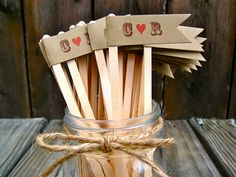 rustic romance drink stirrers by purplepeonycouture