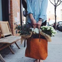 The Madewell tote + freshly cut flowers of course!
