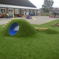 This eclipse tunnel mound is a fun addition to nursery playground equipment that is designed specifically for young children