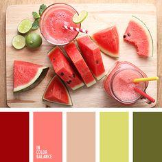 алый, красный и оранжевый, красный и салатовый, оранжевый и красный, оттенки бежевого, оттенки красного, салатово-бежевый цвет, салатовый, салатовый и бежевый, салатовый и красный, цвет арбуза, цвет мякоти арбуза, яркий красный.