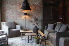 Esatto by Ravensbergen Room Inspiration, Interior Inspiration, Home And Living, Living Room, Old Bricks, Rustic Industrial, Yorkie, Vintage Furniture, Arquitetura