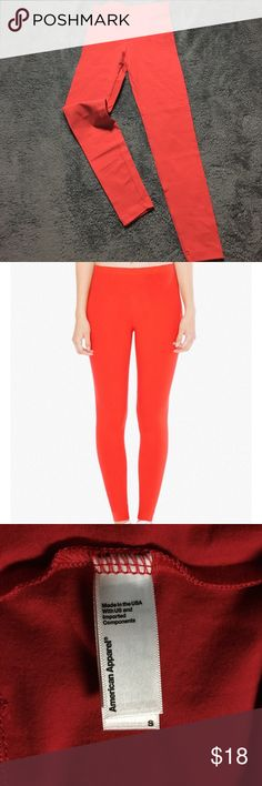 American Apparel ~ Red Leggings Condition :: New with tags 🏷  Brand 🛍 :: American Apparel   Size :: S   Description :: Never worn before ! Model wearing a size small. Fitted cotton/spandex. American Apparel Pants Leggings