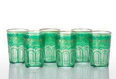 Trellis Moroccan Tea Glass Set, Green