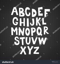 Hand drawn Latin alphabet. A, B, C, D, E, F, G, H, I, J, K, L, M, N, O, P, Q, R, S, T, U, V, W, X, Y, Z. Perfect for holiday greetings, Christmas, Valentine, birthday and kids cards.