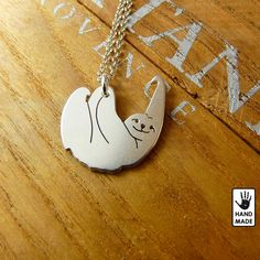 Tiny SLOTH  slow living  hand cut sterling silver by StefanoArt