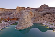 Tucked within a remote valley in the middle of the Four Corners—the area of the Southwest where Utah, Colorado, New Mexico, and Arizona all meet—the three-year-old Amangiri resort was designed to blend seamlessly into its breathtaking desert surroundings.