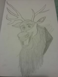 My sketch of Sven form Disney's Frozen Disney Frozen, Sketch, Spaces, Creative, Inspiration, Design, Art, Sketch Drawing, Biblical Inspiration