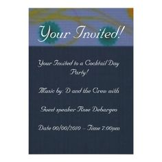 Deep Blue Elegant Formal Dinner Party Invitation