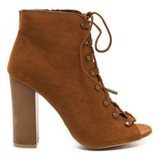 TAN Style Blog Worthy Lace-Up Booties (44 CAD) ❤ liked on Polyvore featuring shoes, boots, ankle booties, ankle boots, tan, high heel ankle boots, lace up high heel booties, peep toe bootie and lace up high heel boots