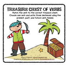 FREE Download - Treasure Chest of Verbs - These pirates make hunting for verb treasure fun! (past, present and future tense)