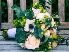 Rustic Bridal bouquet of anemones  and ranunculus by Fleurs,Horsham. http://alexanderwhitephotography.co.uk
