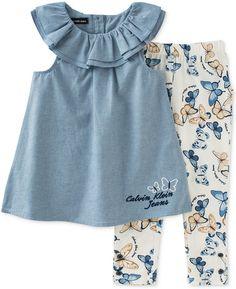 Calvin Klein Toddler Girls' 2-Pc. Chambray Tunic & Capri Leggings Set