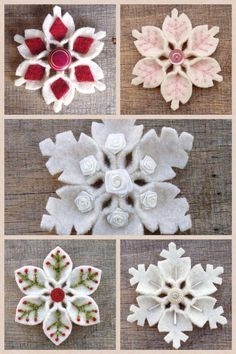 Flores de neve em feltro