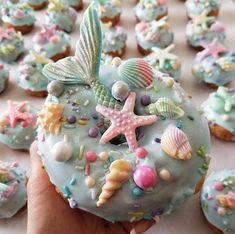 Custom decorated donuts including the famous unicorn and mermaid donuts. Donuts are made with Spudnuts potato flour. Dessert Party, Party Sweets, Desserts For A Crowd, Köstliche Desserts, Delicious Donuts, Yummy Food, Donuts Simpsons, Donuts Beignets, Fried Donuts