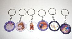 Disney's Beauty and The Beast   Set Of 6 Key Chains Bottle Cap Party Favors #Unbranded #BirthdayChild