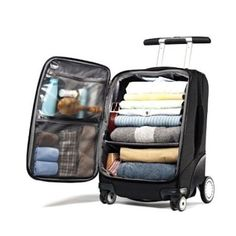 Love this suitcase. Samsonite EZ Cart Spinner - luggage with lots of organization and a different look! Travel Luggage, Luggage Bags, Travel Bags, Luggage Packing, Best Travel Backpack, Best Carry On Luggage, Kids Luggage, Packing Tips For Travel, Travel Essentials