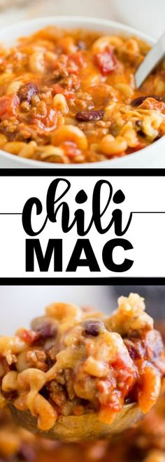 This simple, hearty, homemade chili mac and cheese is a regular on our family's dinner menu. We love this recipe and think it's the best! You'll enjoy the flavor of the spices, cheese and pasta Baby Food Recipes, Meat Recipes, Mexican Food Recipes, Cooking Recipes, Cooking Chili, Leftover Chili Recipes, Cooking Ribs, Noodle Recipes, Cheese Recipes
