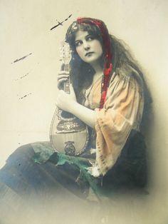 Antique gypsy postcard  Mignon bohemian  woman by LizKnijnenburg