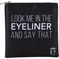 Eyeko Eyeliner and say that make-up bag ($21) ❤ liked on Polyvore featuring beauty products, beauty accessories, bags & cases, bags, makeup, beauty, accessories, fillers, toiletry kits and makeup bag case