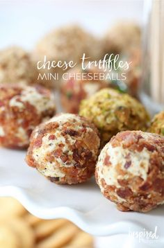 Cheese Truffles // Holiday Bacon-Inspired Appetizers   http://inspiredbycharm.com