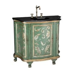 DESIGNER-MARBLE-TOP-GOLD-PAINTED-CABINET-CHEST-WITH-SINK-BRASS-FAUCET-SAGE-Gold