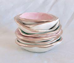 Gold rimmed porcelain trinket dishes