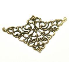 Antique Bronze Filigree Triangle Wraps Connectors 5cm x 3.2cm,9 pc //Price: $6.99 & FREE Shipping //     #hashtag3