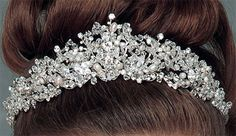 Freshwater Pearls, Swarovski Bicone, Round and Bold Marquis Crystals Intricately Designed Center Heart Tiara.