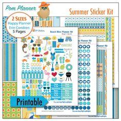 New Summer Planner Stickers Kit --- Summer Planner Stickers Beach Bliss Kit 5 PDF, 300 Summer Stickers Pool, BBQ summer clip art EC Happy Planner #summer #plannerlove #plannerstickers #beach #ocean #pool #fun #printable #freebie