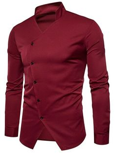 39f7a7a627f Stand Collar Oblique Button Design Shirt - WINE RED S