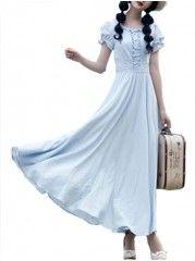 Elegant Round Neck Cotton Pure Maxi-dress