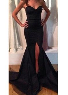 Camille La Vie long black prom dress with illusion and side slit ...