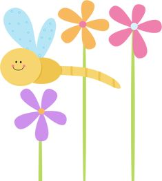 dragonfly clip art | Dragonfly and Flowers Clip Art Image - cute dragonfly flying through ...