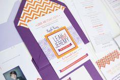 Modern Purple and Orange Chevron Stripe Wedding Invitations by Ten Four Paper via Oh So Beautiful Paper (5)