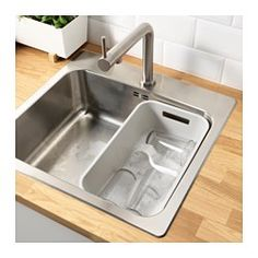 IKEA - GRUNDVATTNET, Rinsing tub, You can use the rinsing tub as a divider in a sink with one bowl to create two bowls.You can save water by doing your dishes in the rinsing tub instead of washing dishes under running water. Kitchen Ikea, Kitchen Taps, Kitchen Shelves, Kitchen Layout, Washing Up Bowls, Washing Dishes, Ikea Family, Save Water, Windows