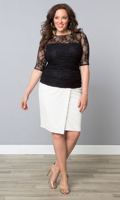 Curvalicious Clothes::Plus Size Tops::Smitten Lace Top in Onyx