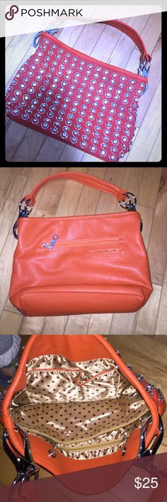 Orange purse with lots of sparkle! NWOT A beautiful orange faux leather purse with full front coverage of sparkles! Back has no sparkles and two pockets. One big pocket with a zipper and one for a phone. Inside is fully lined and has several different pockets or compartments. Cute cute cute! Will add some flavor to your outfit. Bags Hobos