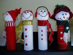 Easy paper towel tube snowmen