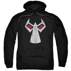 Batman/Bane Mask Adult Pull-Over Hoodie in Black Material: Cotton, Polyester Care Instruction: Machine Wash Size: S, L, 3XL, M, 2XL, XL Color: Black Measurement Guide Click here to view our men's sizi