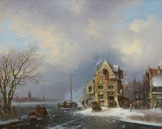 Stok J. van der | Bedrijvigheid in een stad aan een bevroren rivier, olieverf op doek 40,8 x 50,6 cm, gesigneerd r.o. en gedateerd '59