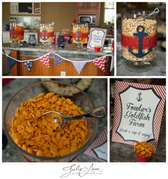Nautical Themed Baby Shower with a goldfish snack station. Pepperidge farm goldfish in different flavors are a great idea of parties and weddings.