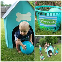 Cardboard Dog House and play fetch for puppy party