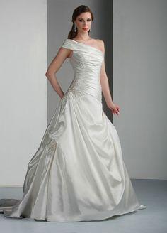 Taffeta A-Line One-Shoulder Strap Asymmetrical Neckline Pleated Bodice Wedding Dress