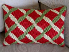 Bargello Pillow Needlepoint Diamonds With a Twist by Lisolabella