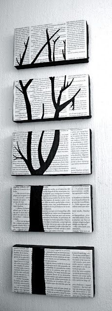 Turn shoe box lids into art by covering them with book pages (or sheet music or other text) and painting a continuous image.