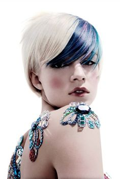 Platinum Blonde with Navy, Teal, and Purple fringe. Kind of loving this.