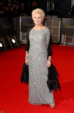 Julie Walters in a sequin Adrianna Papell gown at the BAFTAs ceremony